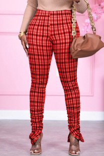 Red Fashion Print Fold Skinny Bottoms