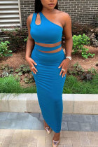 Blue Polyester Fashion adult Lightly cooked Patchwork Solid Two Piece Suits HOLLOWED OUT A-line skirt Sleeveless Two Pieces