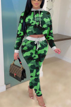 Green venetian Fashion Casual adult Ma'am Patchwork Print Two Piece Suits pencil Long Sleeve Two Pieces
