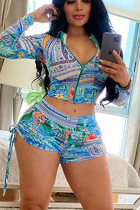 Cyan Polyester Fashion Active Print Two Piece Suits Straight Long Sleeve Two Pieces