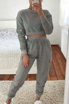 Grey Fashion Casual Adult Polyester Solid Split Joint O Neck Long Sleeve Regular Sleeve Short Two Pieces