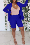 Blue Fashion Casual Solid Cardigan Turndown Collar Long Sleeve Two Pieces