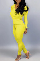 Yellow Street Solid O Neck Long Sleeve Two Pieces