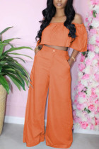 Orange Fashion Casual Adult Polyester Solid Split Joint Bateau Neck Half Sleeve Off The Shoulder Short Two Pieces