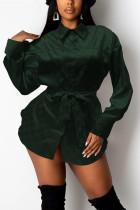 Black Green Fashion Casual Print Basic Turndown Collar Tops