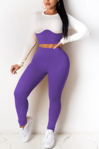 purple Casual Sportswear Cotton Cotton Blends Patchwork Solid Split Joint O Neck Long Sleeve Regular Sleeve Short Two Pieces