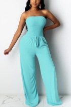 Baby Blue Sweet Solid Split Joint Strapless Regular Jumpsuits