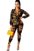 Orange Polyester Sexy Letter Two Piece Suits Print pencil Long Sleeve Two-piece Pants Set