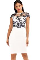 White Polyester Celebrities Cap Sleeve Short Sleeves O neck Step Skirt Knee-Length Patchwork Print