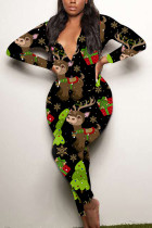 Multi-color Sexy Party Patchwork Print Santa Claus V Neck Skinny Jumpsuits