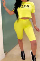 Yellow Polyester Fashion Sexy Letter Print Two Piece Suits pencil Short Sleeve Two Pieces