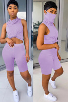 purple knit Fashion Sexy adult Ma'am Patchwork Solid Two Piece Suits Straight Sleeveless Two Pieces