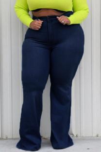 Tibetan Blue Denim Sexy Solid Plus Size