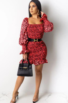 Red Polyester Sexy lantern sleeve Long Sleeves Square Step Skirt skirt Print Draped stringy selvedge