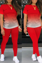 Tangerine Red Casual Gradual Change Split Joint O Neck Short Sleeve Two Pieces