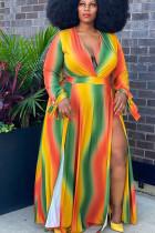 Orange Polyester Street O Neck Striped Print Split Tie Dye Pattern Plus Size