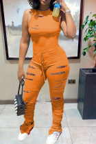 Orange Street Print Ripped Hollowed Out O Neck Jumpsuits