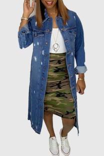 Light Blue Fashion Casual Solid Ripped Cardigan Turndown Collar Long Sleeve Denim Coats