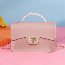 Pink Fashion Casual Patchwork Chain Strap Crossbody Bag