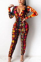 Red Sexy Polyester Print Solid Leopard Fold V Neck Skinny Jumpsuits