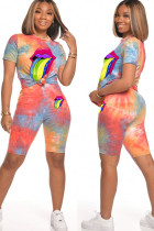 Orange Polyester Fashion Active Print Two Piece Suits Straight Short Sleeve Two Pieces