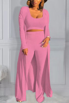 Pink Polyester Active Casual Europe and America O Neck Solid Plus Size