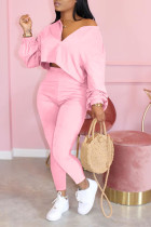 Pink Polyester Celebrities zipper Solid Fluorescent Plus Size