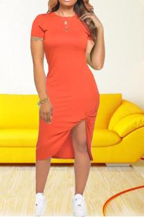 Orange Casual Solid Split Joint O Neck Irregular Dress Dresses
