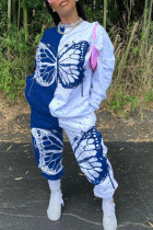 Blue Casual Butterfly Print Split Joint O Neck Long Sleeve Two Pieces