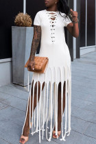 White Fashion Sexy Solid Tassel O Neck Short Sleeve Dress