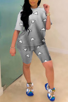 Grey Polyester Fashion Casual adult Geometric Patchwork Print Gradient Two Piece Suits Straight Short Sleeve Two Pieces