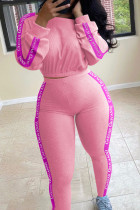 Pink Fashion Casual Adult Polyester Letter Patchwork Split Joint Letter O Neck Long Sleeve Regular Sleeve Regular Two Pieces