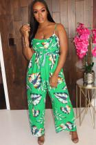 Green Sexy Print Backless Chemical fiber blend Sleeveless Slip Jumpsuits