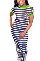 Green Polyester Fashion Casual Red Green Yellow Cap Sleeve Short Sleeves O neck Step Skirt Ankle-Length Striped Print Dresses