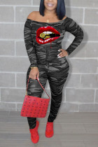 Grey Sexy Casual Print Lips Printed Camouflage Print Off the Shoulder Regular Jumpsuits