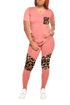 Pink knit Casual Leopard Patchwork Print Fluorescent pencil Short Sleeve Two Pieces