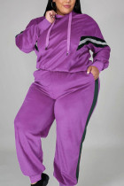 purple Casual Solid Hooded Collar Plus Size