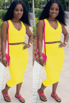 Yellow Polyester Sexy Fashion Patchwork Solid A-line skirt Two-Piece Dress