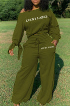 Army Green Sexy Polyester Cotton Blends Letter Print Solid Draw String Frenulum Pullovers Pants Oblique Collar Long Sleeve Regular Sleeve Regular Two Pieces