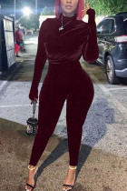 Wine Red Sexy Solid Fold O Neck Skinny Jumpsuits