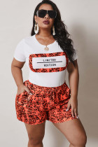 Orange Polyester Fashion Casual adult Ma'am O Neck Patchwork Print Two Piece Suits Stitching Plus Size