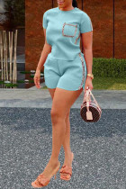 Light Blue Polyester Fashion Sexy Patchwork Solid Two Piece Suits Straight Short Sleeve Two Pieces
