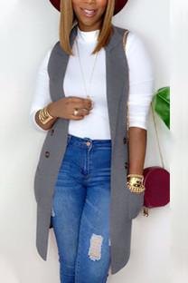 Grey Fashion British Style Adult Polyester Solid Cardigan Turndown Collar Tops