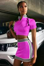 purple Casual Fashion Striped Zippered Solid crop top Straight