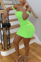 Fluorescent green Cotton Fashion Sexy adult Ma'am Off The Shoulder Sleeveless One word collar Step Skirt skirt Solid Dresses