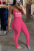 Pink Sexy Print letter Solid Chemical fiber blend Sleeveless O Neck Jumpsuits