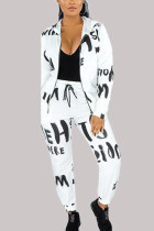 White Fashion Casual Adult Polyester Print Letter Hooded Collar Long Sleeve Regular Sleeve Regular Two Pieces