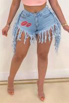 Baby Blue Fashion Sexy Print Tassel Mid Waist Straight Jeans
