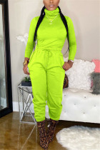 Fluorescent green Polyester Casual Fashion Bandage Solid Two Pieces