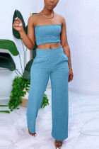 Blue Chlorine Fashion Casual adult Ma'am Solid Two Piece Suits Straight Sleeveless Two Pieces